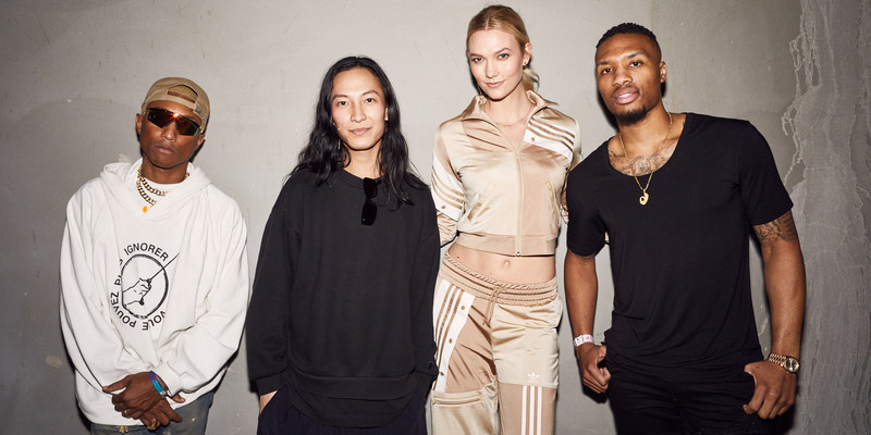From L to R Pharrell Williams, Alexander Wang, Karlie Kloss and Damian Lillard at the adidas 747 Warehouse St Festival