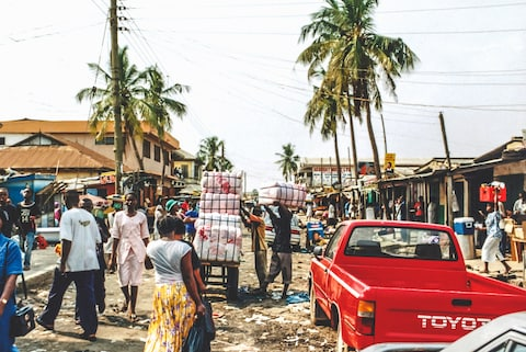 Markets on the streets of Accra in Ghana