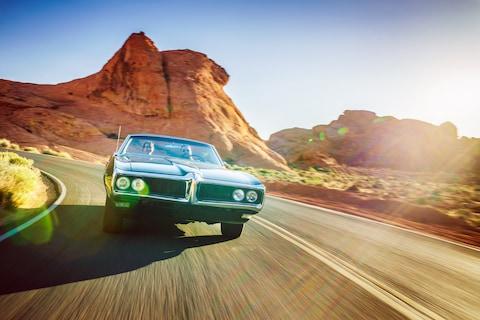 A car on a road trip