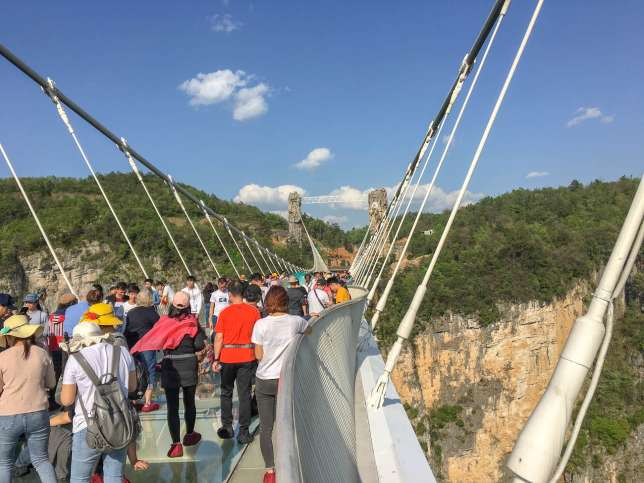 7. In China, I made the mistake of visiting a tourist attraction that had gone viral on Facebook and Instagram: the Zhangjiajie Grand Canyon Glass Bridge, the longest and highest glass bridge in the world. It was a crowded, overpriced excuse to take selfies.